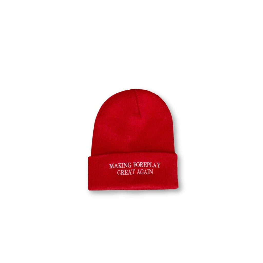 "THIGHBRUSH® ""Making Foreplay Great Again"" - Cuffed Beanies - Red"
