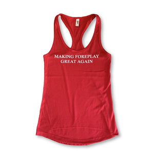 "THIGHBRUSH® - ""Making Foreplay Great Again"" - Women's Tank Top - Red with White Glitter"