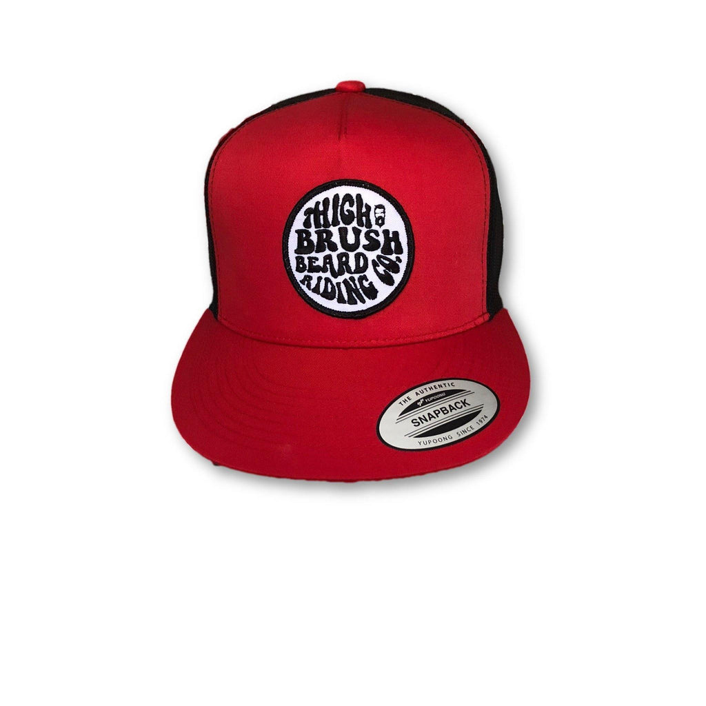 THIGHBRUSH® BEARD RIDING COMPANY - Trucker Snapback Hat - Red and Black - Flat Bill - thighbrush