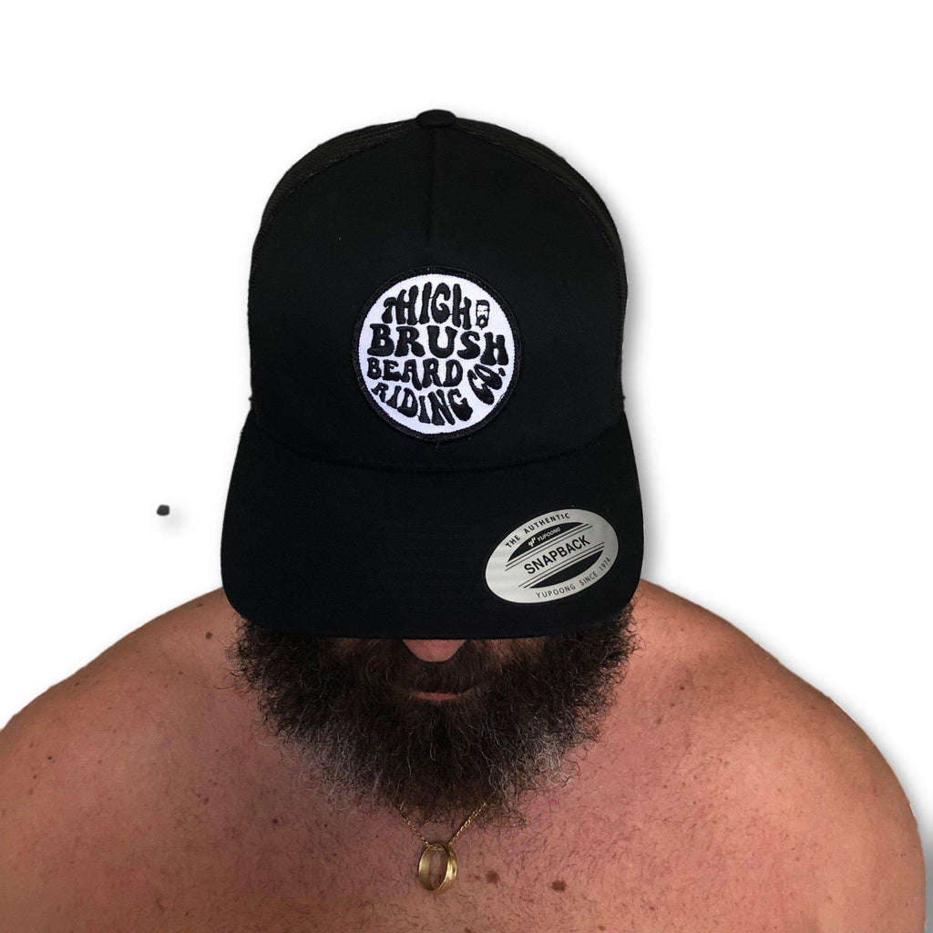 THIGHBRUSH® BEARD RIDING COMPANY - Trucker Snapback Hat - Black on Black - thighbrush