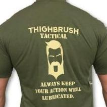 "THIGHBRUSH TACTICAL - ""Always Keep Your Action Well Lubricated"" - Men's T-Shirt - Olive and Tan"