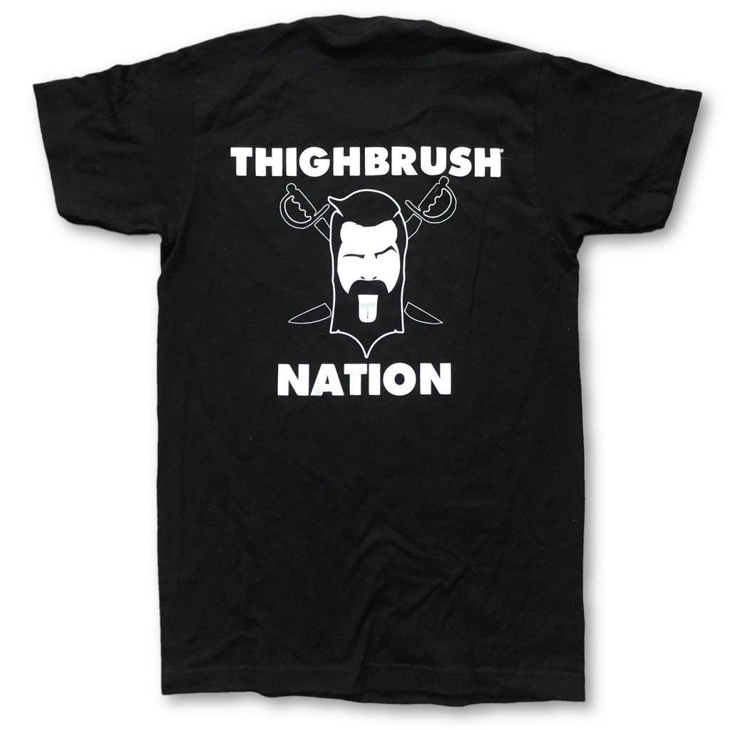 THIGHBRUSH NATION - Men's T-Shirt - Black and White - thighbrush