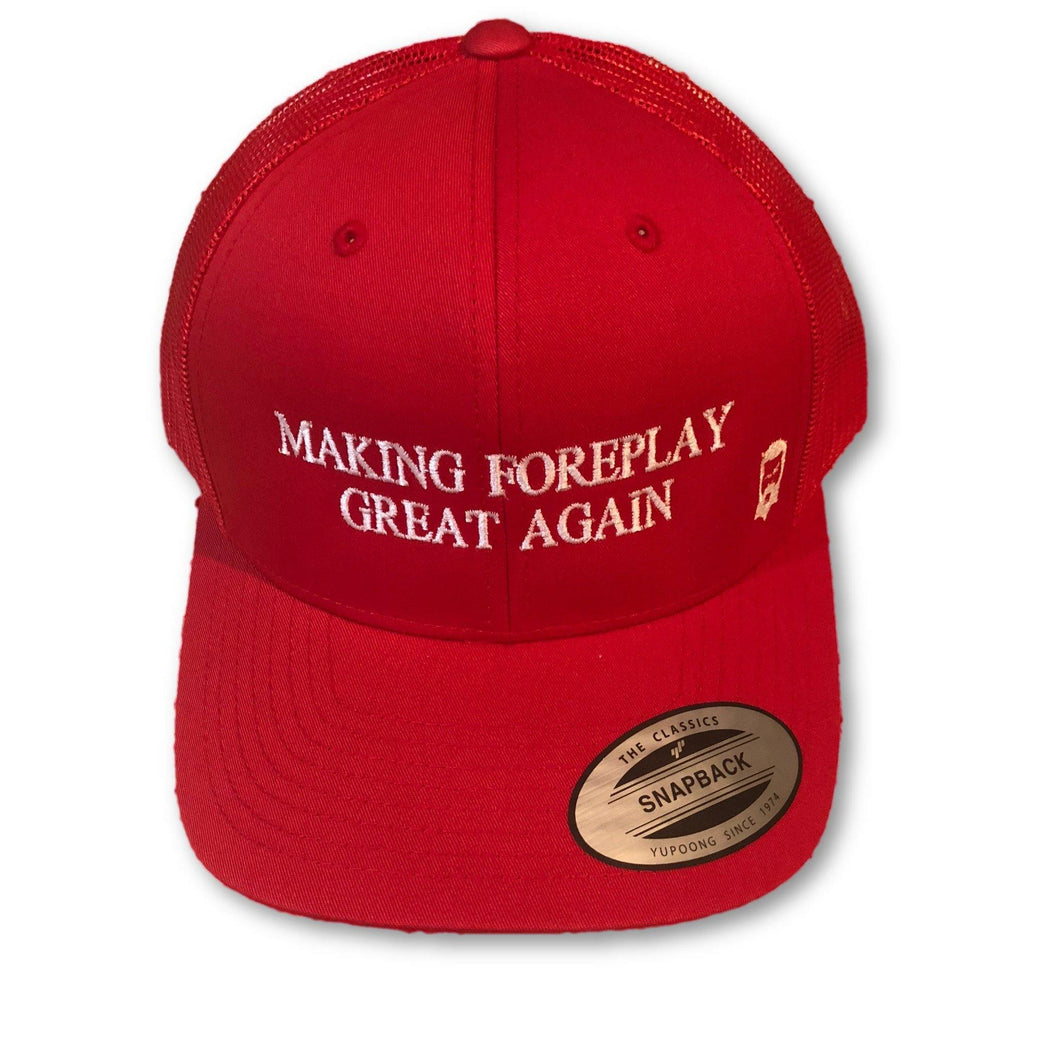 THIGHBRUSH - Making Foreplay Great Again - Trucker Snapback Hat - Red and White