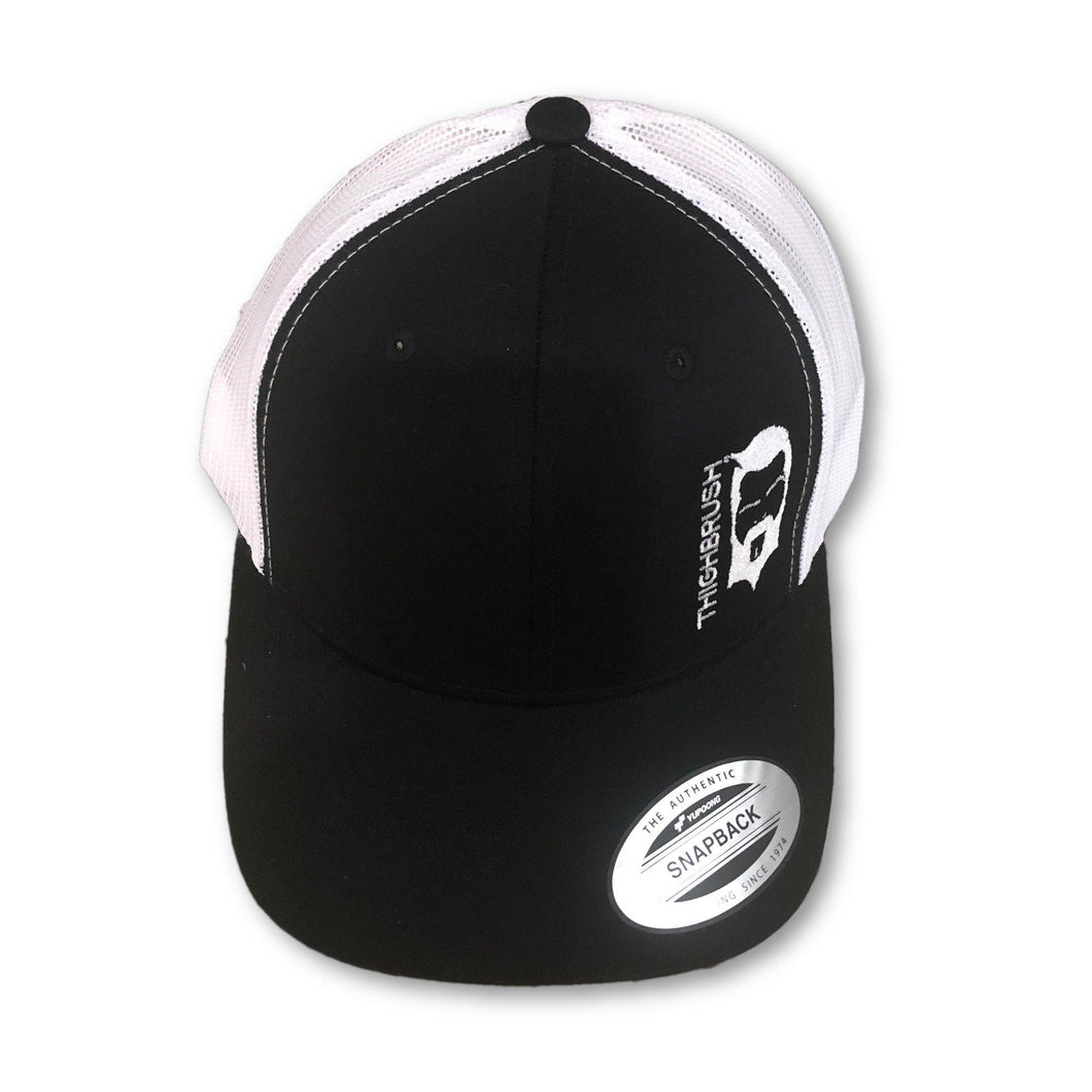 THIGHBRUSH® - Trucker Snapback Hat - Black and White - White Logo - thighbrush