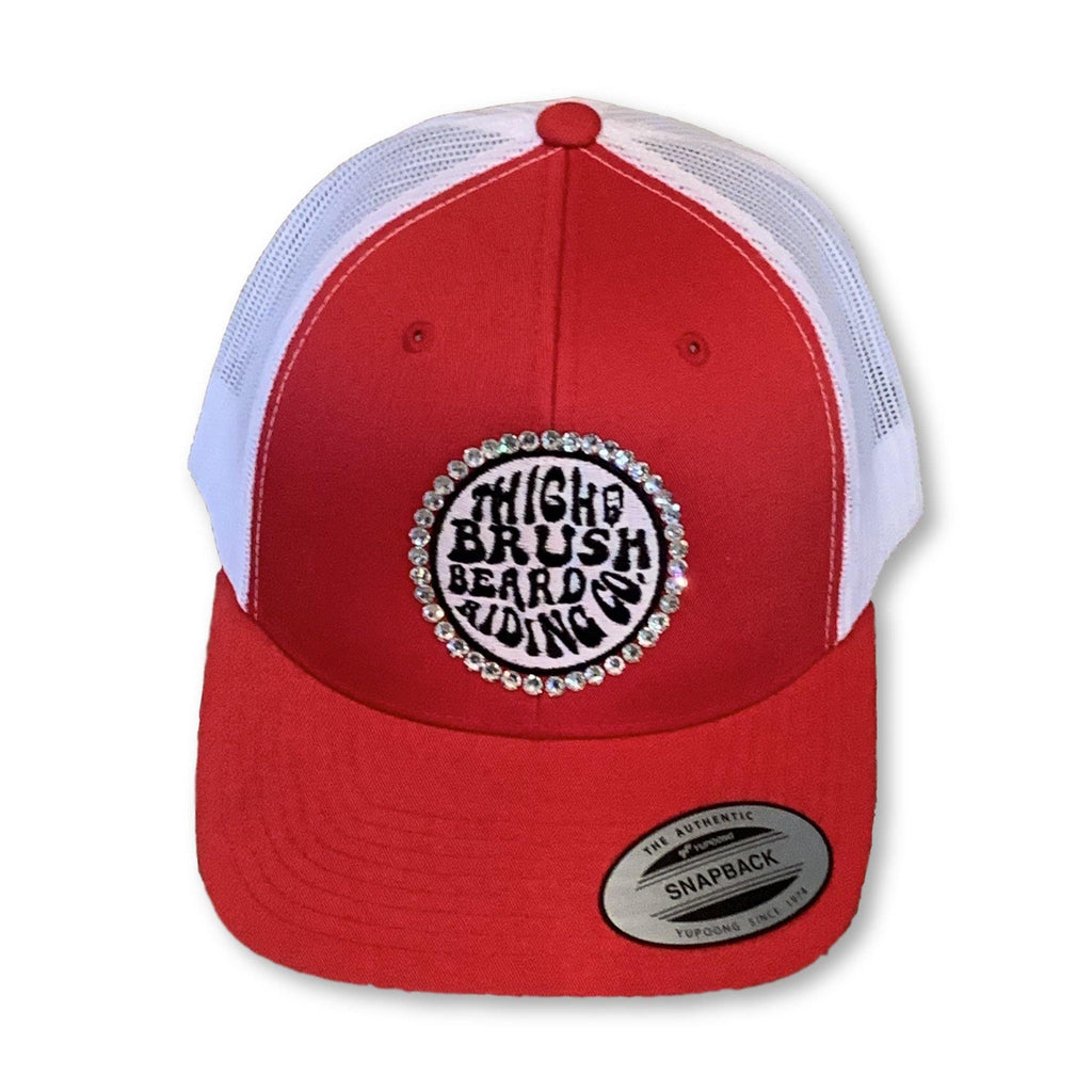 "THIGHBRUSH® BEARD RIDING COMPANY - ""Bling"" Trucker Snapback Hat - Red"