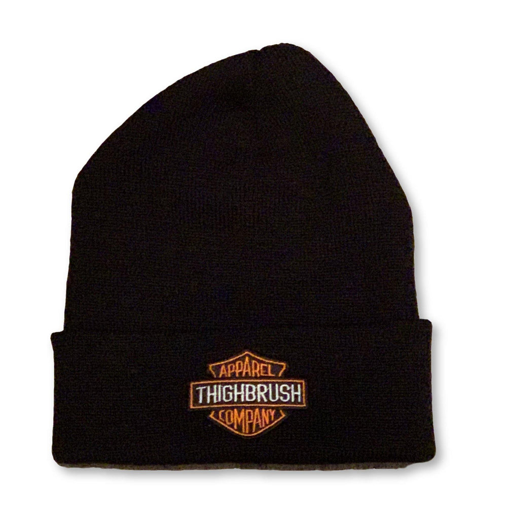 THIGHBRUSH® APPAREL COMPANY - Cuffed Beanies - Patch on Front - Black