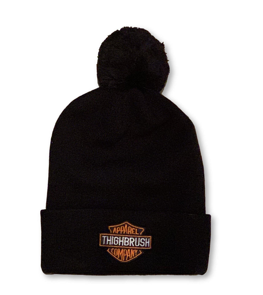 THIGHBRUSH® APPAREL COMPANY - Pom Cuffed Beanies - Patch on Front - Black