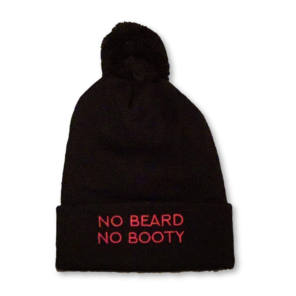"THIGHBRUSH® ""NO BEARD, NO BOOTY"" - Pom Cuffed Beanies - Black with Pink"