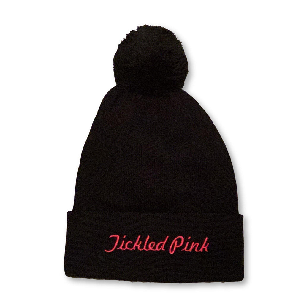 "THIGHBRUSH® ""Tickled Pink"" - Pom Cuffed Beanies - Black"