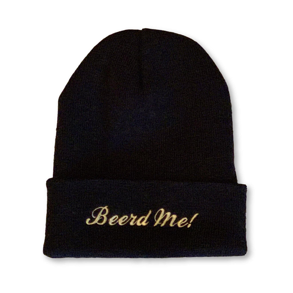 "THIGHBRUSH® ""Beerd Me!"" Cuffed Beanies - Black with Gold"