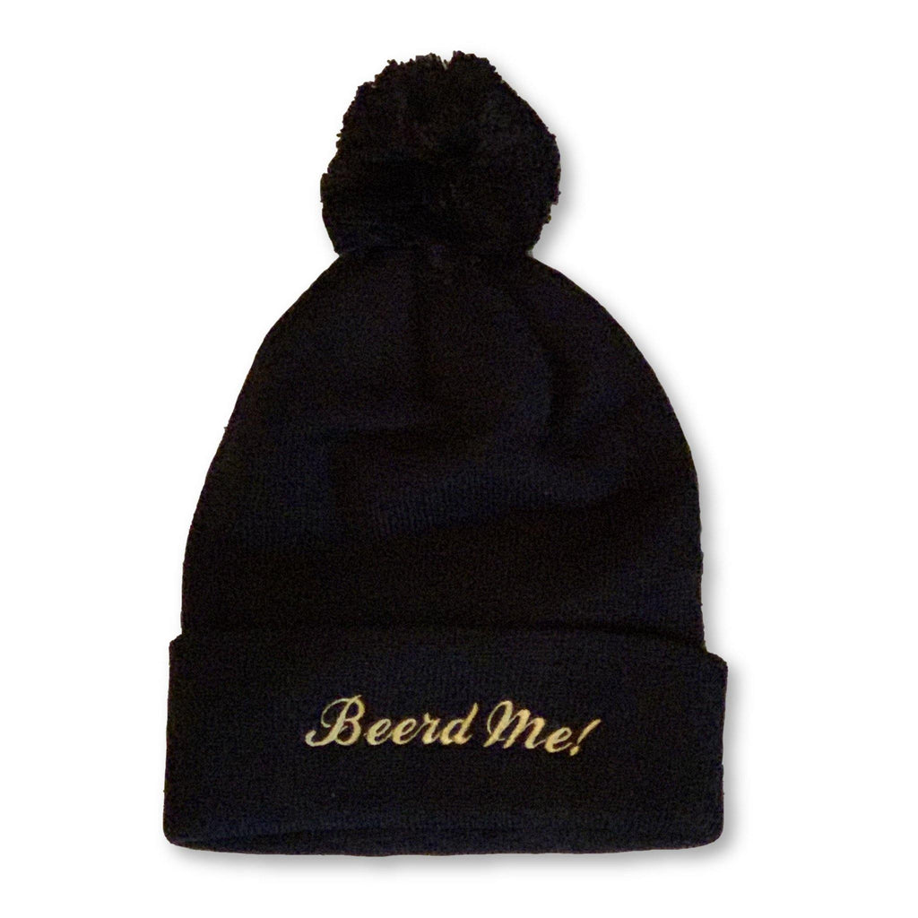 "THIGHBRUSH® ""Beerd Me!"" Pom Cuffed Beanies - Black with Gold"