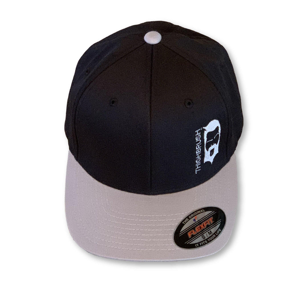 THIGHBRUSH® - Two-Tone FlexFit Hat - Black with Grey Bill - #THIGHBRUSHNATION