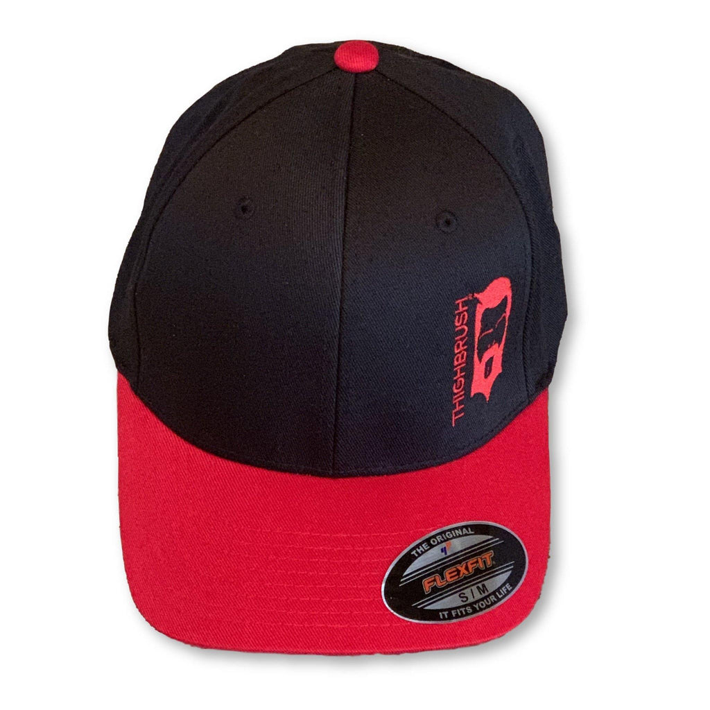 THIGHBRUSH® - Two-Tone FlexFit Hat - Black with Red Bill - #THIGHBRUSHNATION