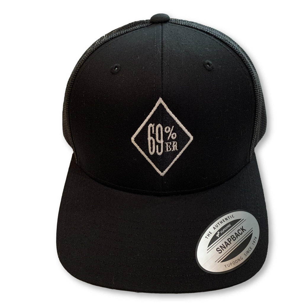 "THIGHBRUSH® - ""69% ER DIAMOND COLLECTION"" Trucker Snapback Hat - Diamond Patch on Front - Black"