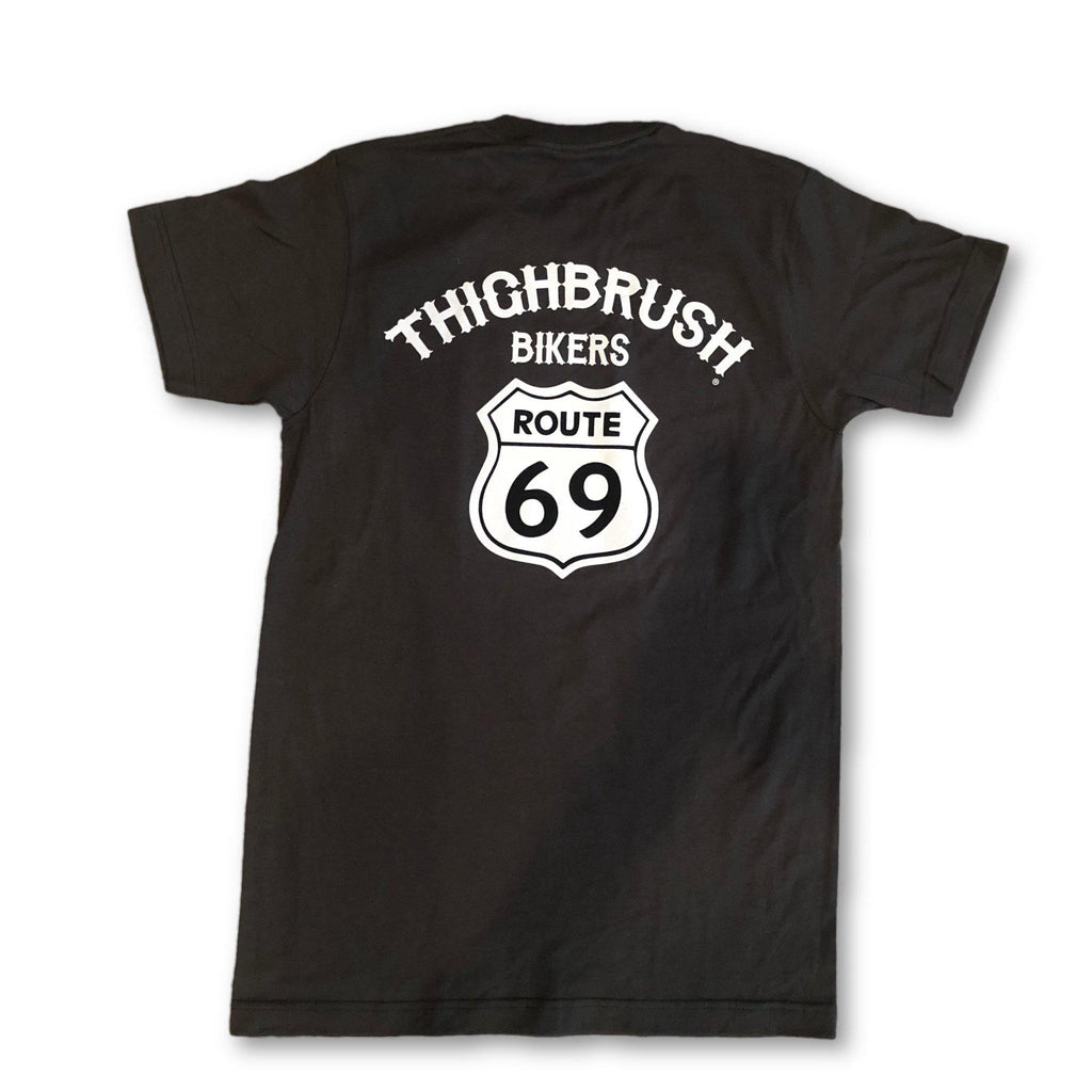 "THIGHBRUSH® BIKERS - ""ROUTE 69"" - Men's T-Shirt - Charcoal Grey and White - thighbrush"