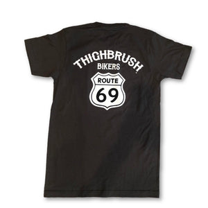 THIGHBRUSH BIKERS - Route 69 - Men's T-Shirt in Charcoal Grey with White Logo/Print. Sizes S-XXXL. Made in a Soft, 100% Pre-Shrunk Cotton.  https://thighbrush.com/products/thighbrush-bikers-route-69-mens-t-shirt-charcoal-grey-and-white