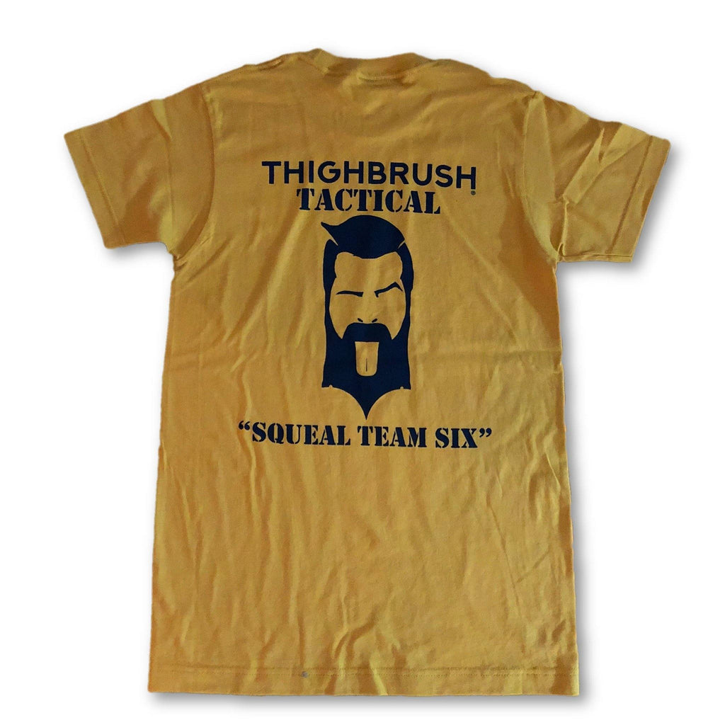 "THIGHBRUSH® TACTICAL -  ARMED FORCES COLLECTION - ""Squeal Team Six"" Men's T-Shirt - Gold and Navy Blue - thighbrush"