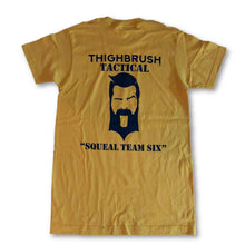 "THIGHBRUSH TACTICAL -  ARMED FORCES COLLECTION - ""Squeal Team Six"" Men's T-Shirt - Gold and Navy Blue"