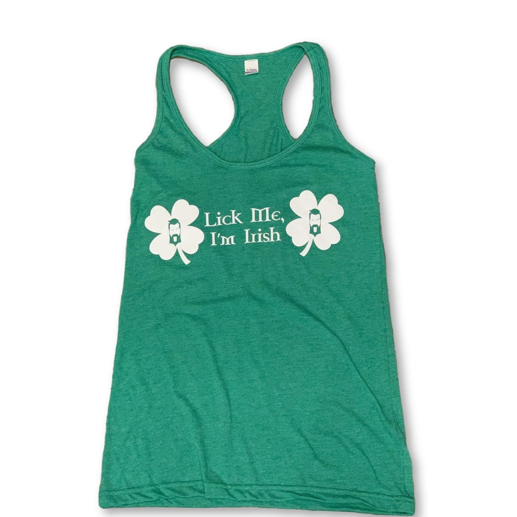 "THIGHBRUSH® - ""Lick Me, I'm Irish"" - Women's T-Back Tank Top - Green"