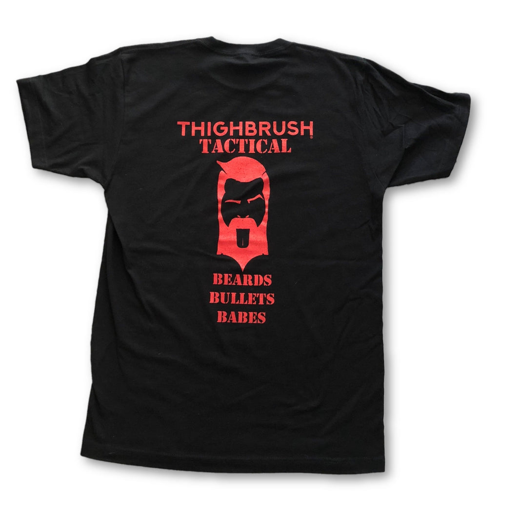 THIGHBRUSH TACTICAL - Beards. Bullets. Babes. - Men's T-Shirt - Black and Red - THIGHBRUSH®