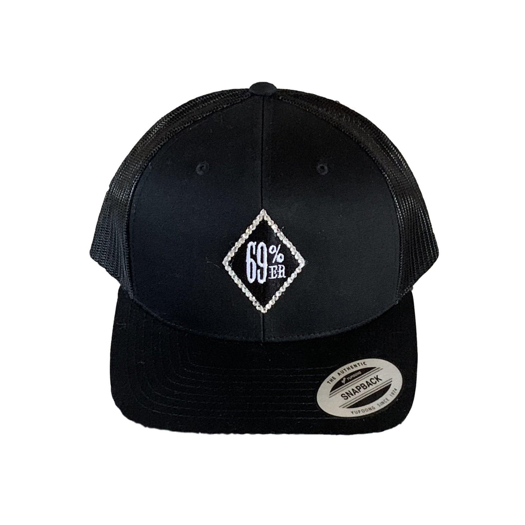"THIGHBRUSH® ""69% ER DIAMOND COLLECTION"" - ""Bling"" Trucker Snapback Hat - Diamond Patch on Front - Black"