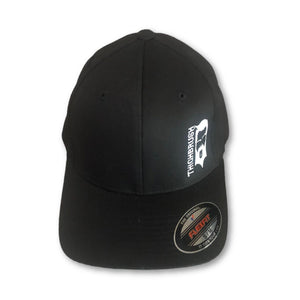 THIGHBRUSH FLEXFIT HAT - Black with White Logo and #SUPPORT69 on the Back. Sizes SM/MED or LARGE/X-LARGE.  https://thighbrush.com/products/thighbrush-flexfit-hat-black-with-white-support69
