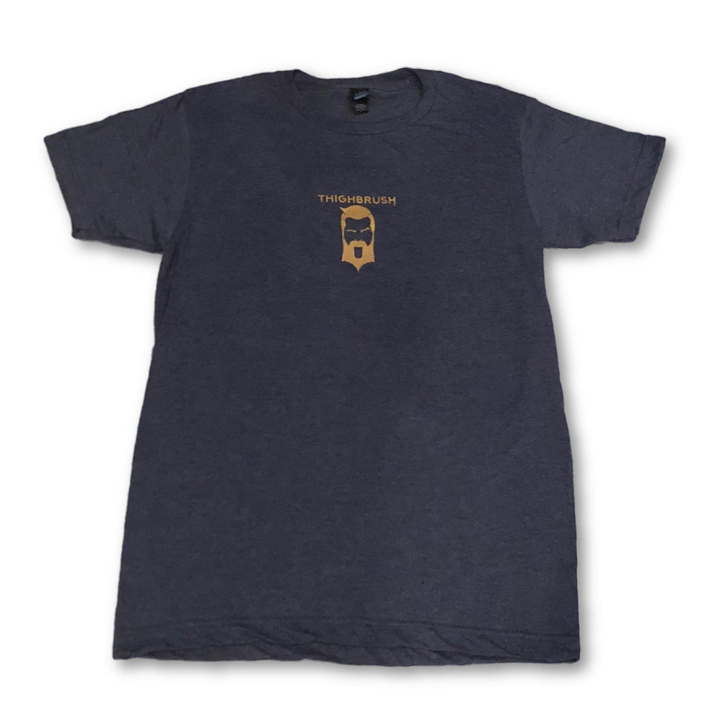 THIGHBRUSH - The Pleasure is All YOURS - Men's T-Shirt - Heather Navy Blue and Gold - thighbrush
