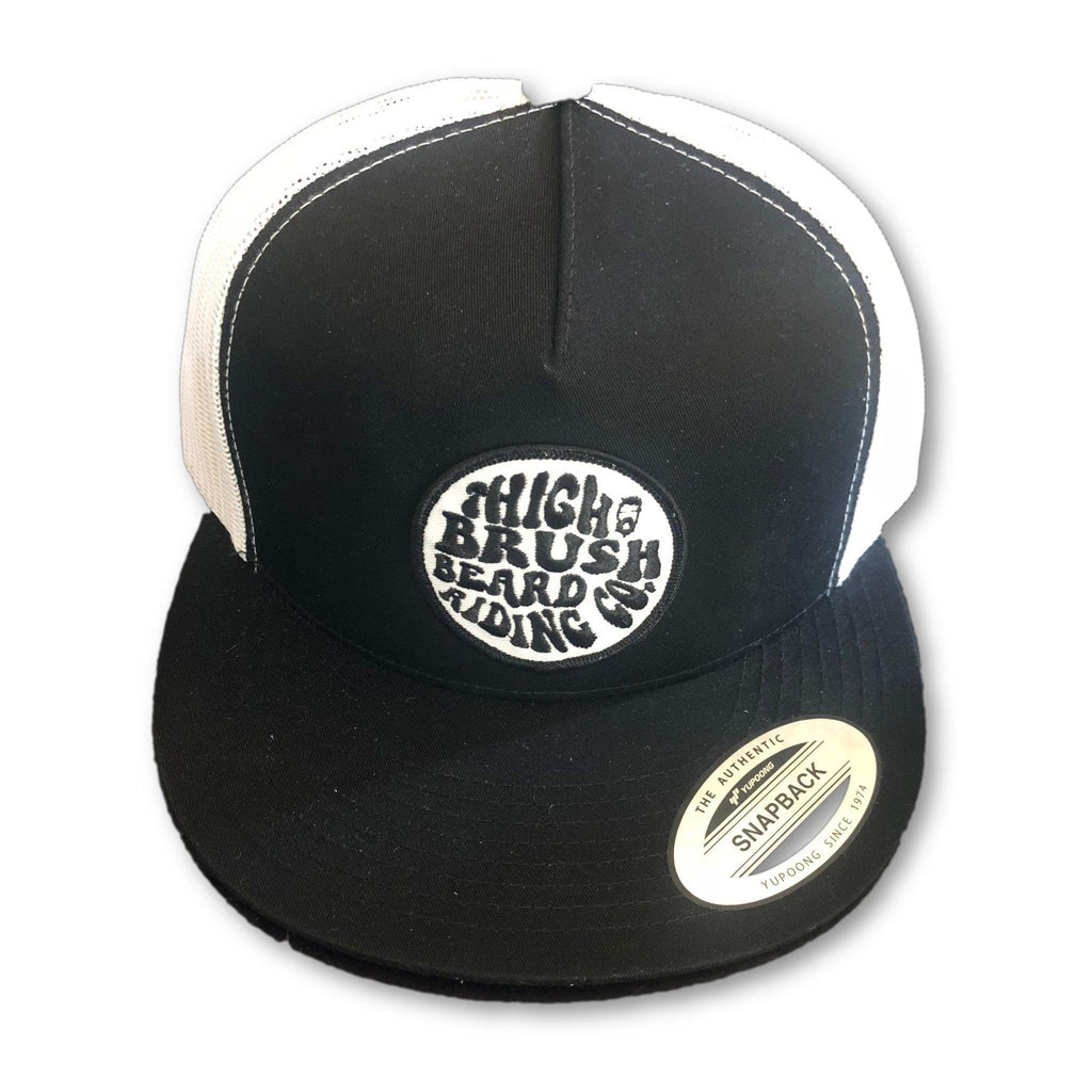 THIGHBRUSH® BEARD RIDING COMPANY - Trucker Snapback Hat - Black and White - Flat Bill - thighbrush