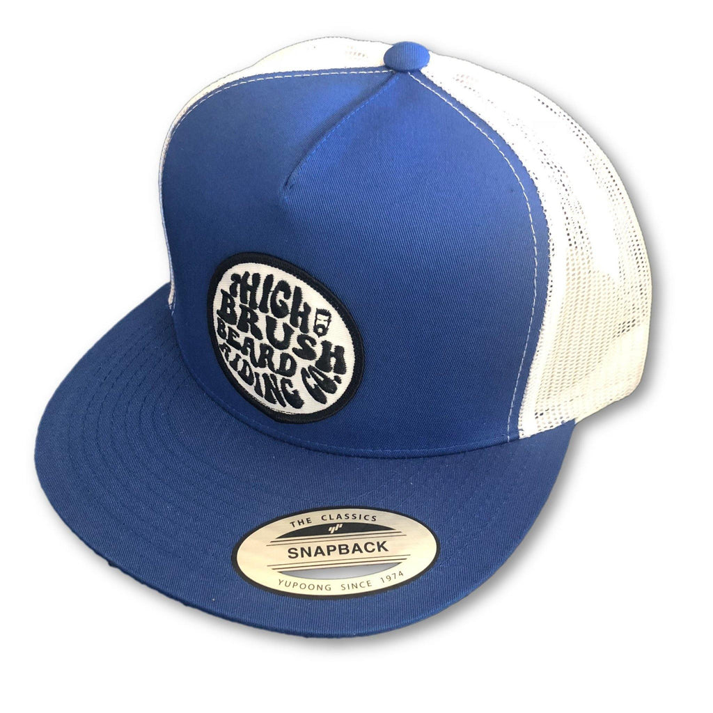 THIGHBRUSH® BEARD RIDING COMPANY - Trucker Snapback Hat - Blue and White - Flat Bill - thighbrush