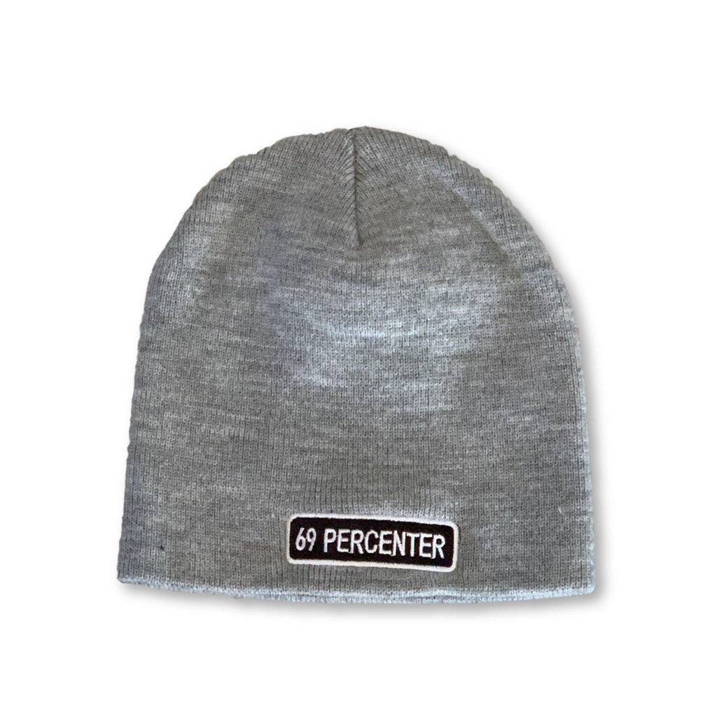 "THIGHBRUSH® ""69 PERCENTER"" Beanies - Rectangular Patch on Front - Grey"