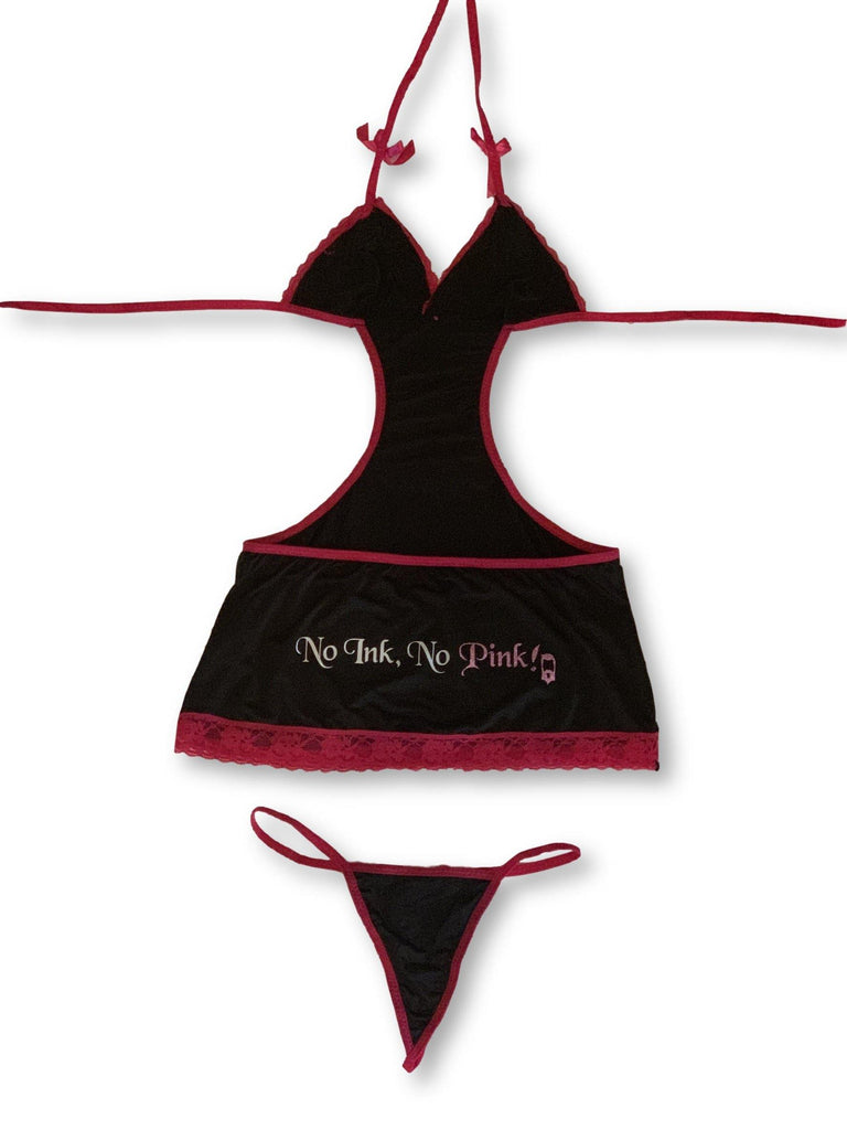 "THIGHBRUSH® ""No Ink, No Pink!""- Cutout Mini Dress and G-String Set"