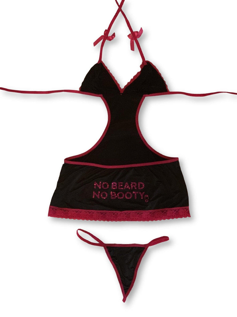 "THIGHBRUSH® ""NO BEARD, NO BOOTY""- Cutout Mini Dress and G-String Set"