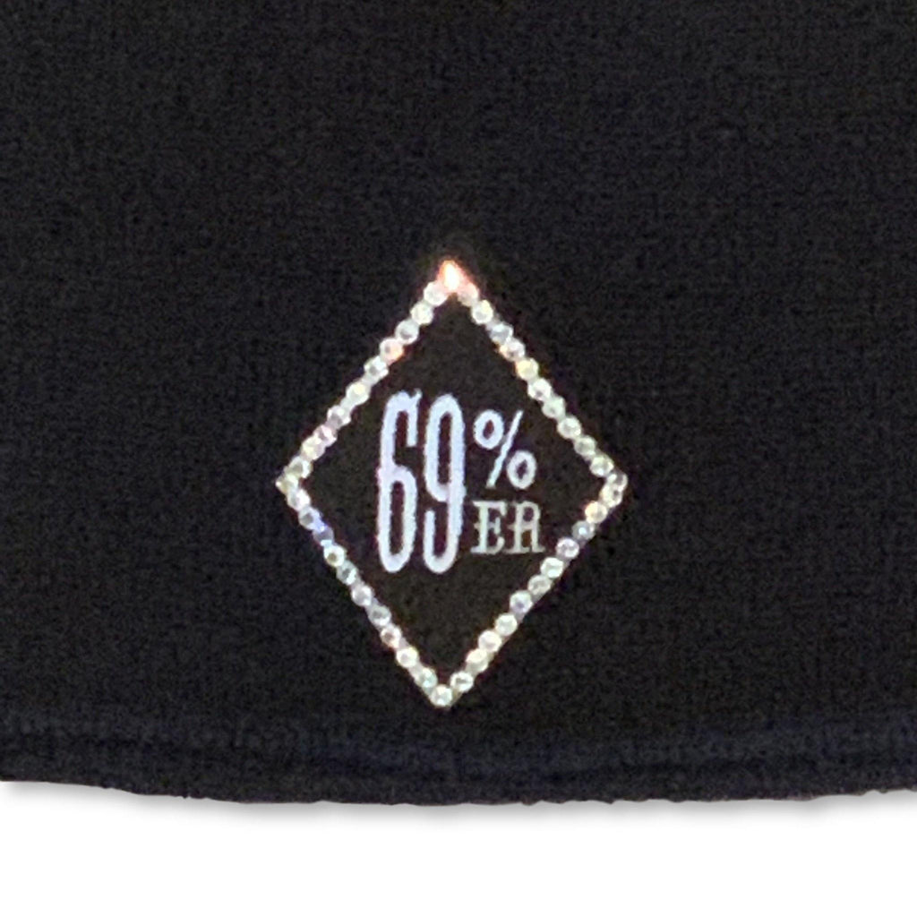 "THIGHBRUSH® ""69% ER DIAMOND COLLECTION"" - ""Bling"" Beanies - Diamond Patch on Front - Black"