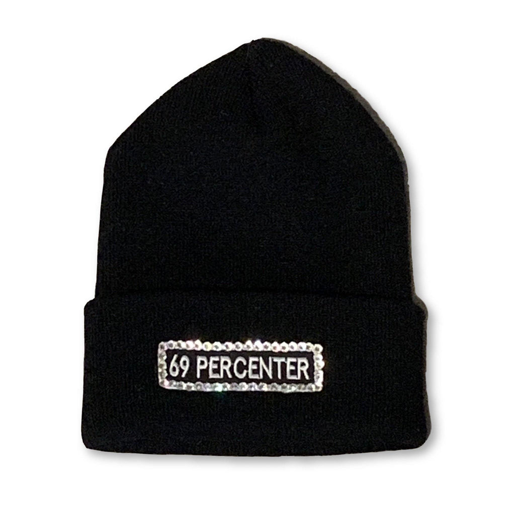 "THIGHBRUSH® ""69 PERCENTER"" - ""Bling"" Cuffed Beanies - Rectangular Patch on Front - Black"