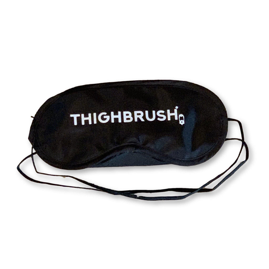 THIGHBRUSH® Satin Sleep Mask - Black with White Glitter Print