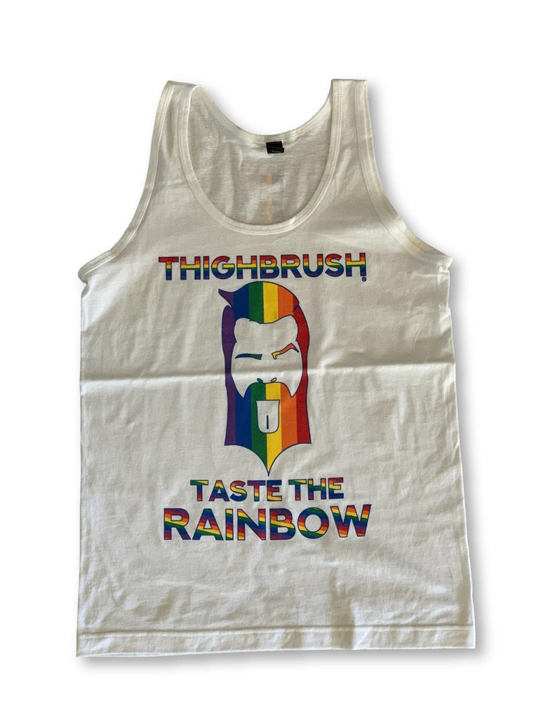 "THIGHBRUSH® LIMITED EDITION - ""TASTE THE RAINBOW"" - Men's Tank Top - White"