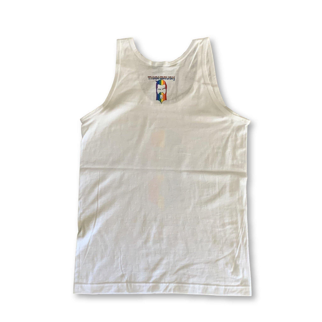 "LIMITED EDITION - THIGHBRUSH® - ""TASTE THE RAINBOW"" - Men's Tank Top - White"