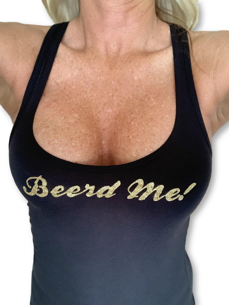 "THIGHBRUSH® ""Beerd Me!"" - Women's Tank Top - Black with Gold Glitter"
