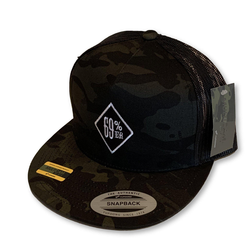 "THIGHBRUSH® ""69% ER DIAMOND COLLECTION"" Trucker Snapback Hat - Camo - Multicam Black - Flat Bill"
