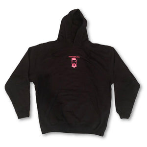 "THIGHBRUSH - ""Tickled Pink"" - Hooded Sweatshirt - Black and Pink - THIGHBRUSH®"