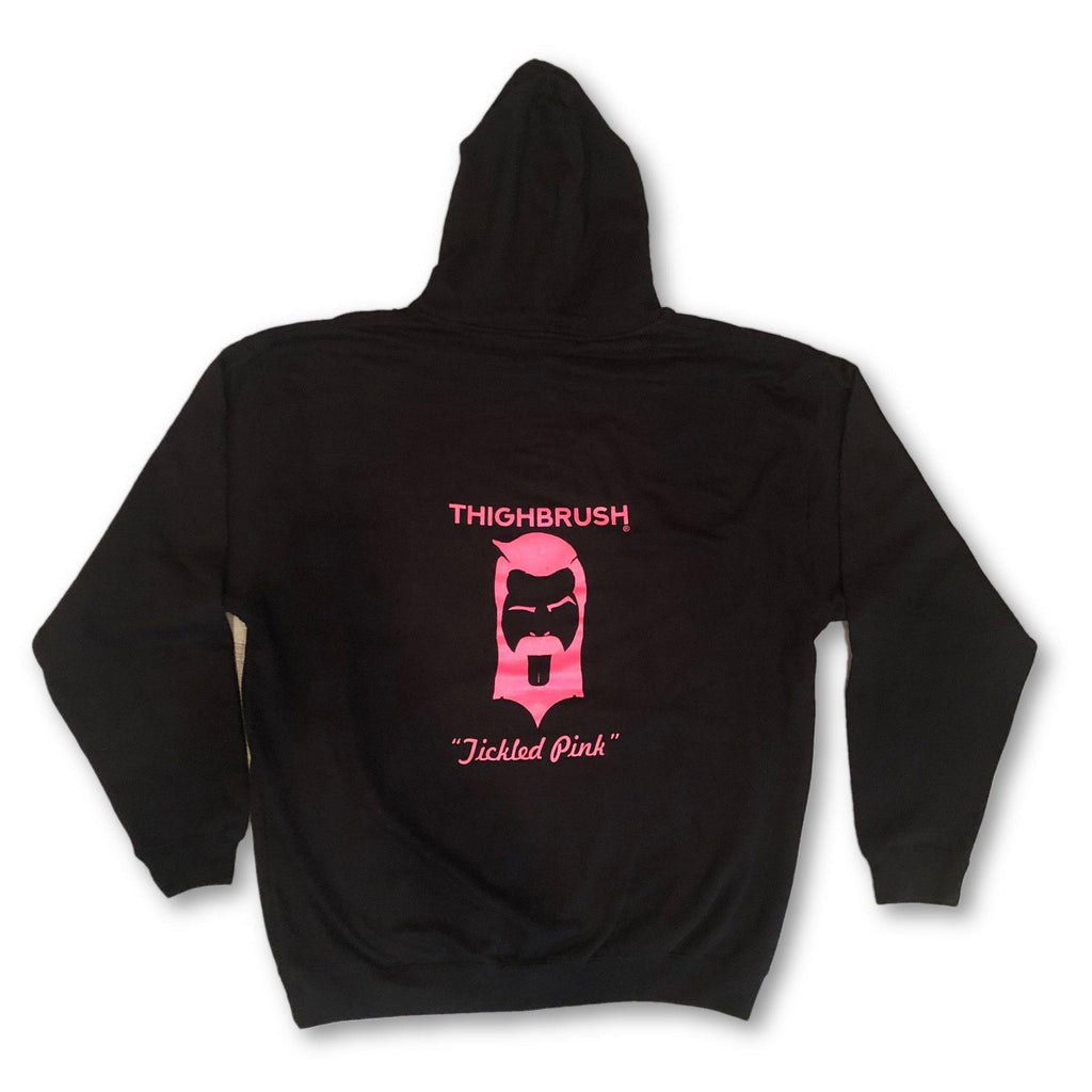 "THIGHBRUSH® - ""Tickled Pink"" - Unisex Hooded Sweatshirt - Black and Pink - thighbrush"