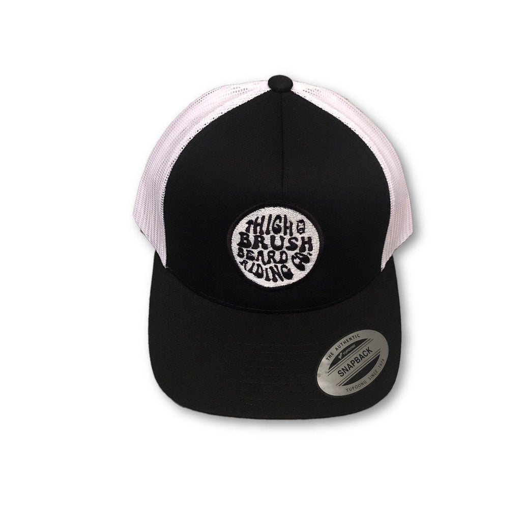 THIGHBRUSH® BEARD RIDING COMPANY - Trucker Snapback Hat - Black and White - thighbrush