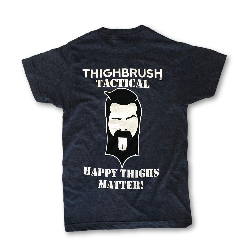 "THIGHBRUSH® TACTICAL - ""Happy THIGHS Matter"" - Men's T-Shirt - Heather Navy - thighbrush"