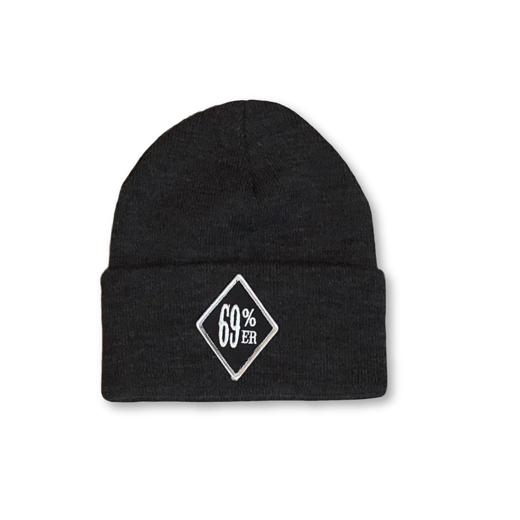 "THIGHBRUSH® BIKERS ""69 PERCENTER"" Cuffed Beanies - Diamond Patch on Front - Charcoal Grey - thighbrush"