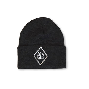 "THIGHBRUSH BIKERS ""69 PERCENTER"" Cuffed Beanies - Diamond Patch on Front - Charcoal Grey - THIGHBRUSH®"