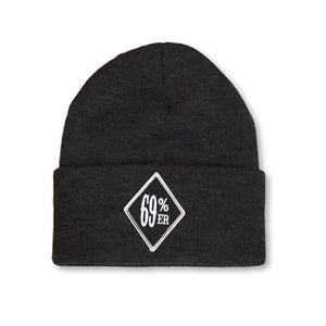 "THIGHBRUSH BIKERS ""69 PERCENTER"" Cuffed Beanies - Diamond Patch on Front - Charcoal Grey"