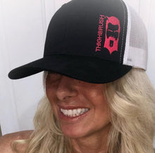 THIGHBRUSH - Trucker Snapback Hat - Black and White with Hot Pink