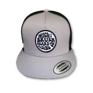 THIGHBRUSH® BEARD RIDING COMPANY - Trucker Snapback Hat - Silver and Black - Flat Bill - thighbrush