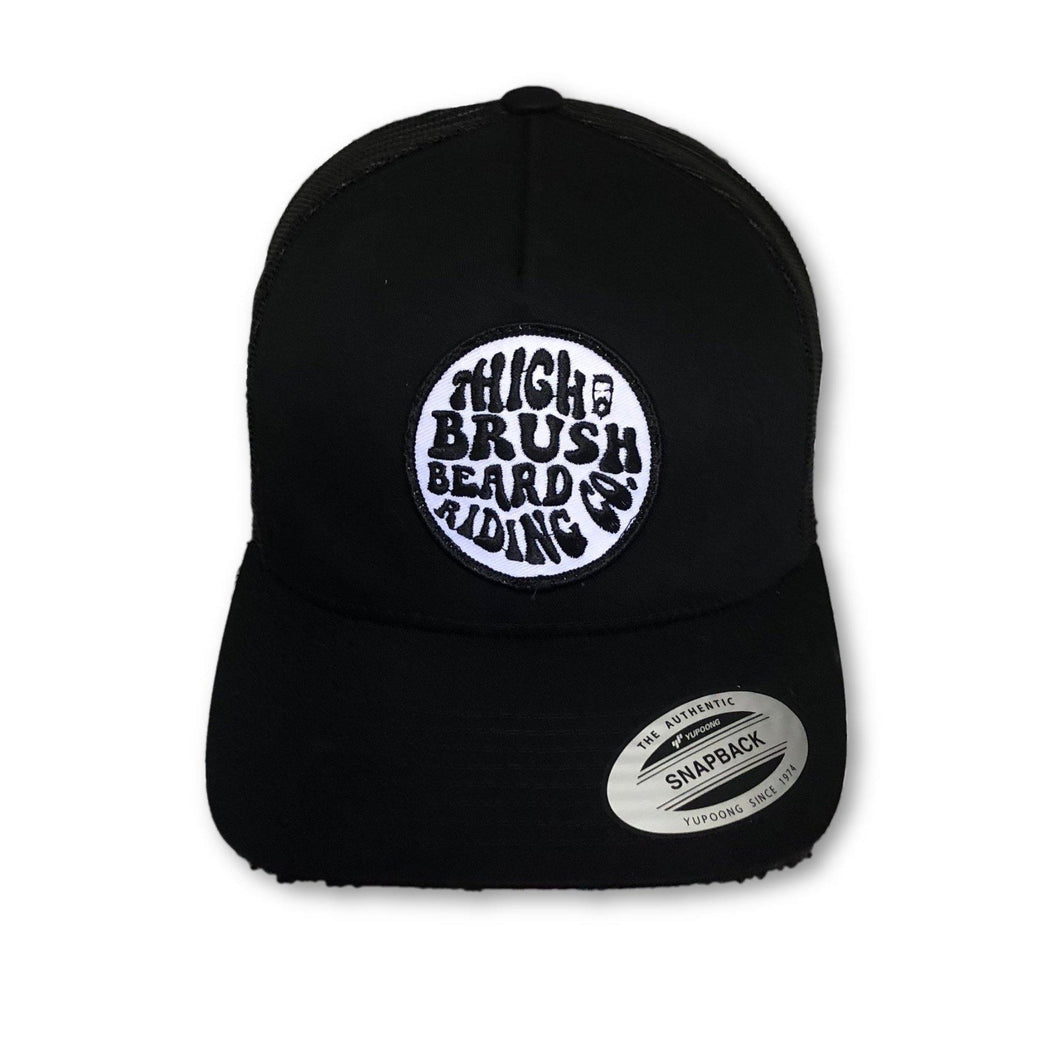 THIGHBRUSH BEARD RIDING COMPANY - Trucker Snapback Hat - Black on Black - THIGHBRUSH®