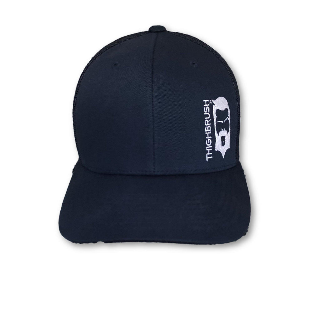 THIGHBRUSH® - Trucker Snapback Hat - Navy Blue with White Logo - thighbrush